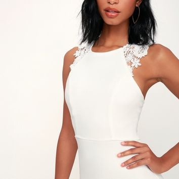 Come Alive White Lace Bodycon Dress