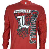 University of Louisville Super Net on Long Sleeve Red T Shirt