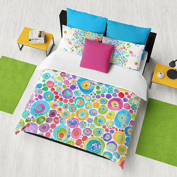 "Colorful ""Inner Circle"" Duvet Cover - or comforter Abstract teal, blue, pink, yellow, bedroom linens,  vibrant modern decor"