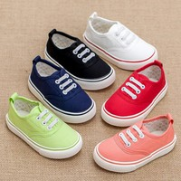 Children's sports shoes Boys and girls child sneakers Kiddie baby Soft bottom non-slip breathable kids casual canvas shoes