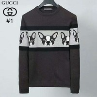 GUCCI autumn and winter new knitted jacquard puppy men's round neck long-sleeved sweater #1