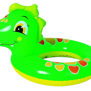"24"" Green and Orange Dinosaur Children's Inflatable Swimming Pool Inner Tube Ring"