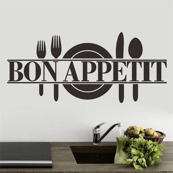 French France Bon Appetit Cook Tools kitchen room food store decal wall sticker restaurant dining hall wall decor
