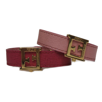 Fendi FF 'Crayons' Reversible Pink Saffiano Leather Bracelet 8AG408 W7K F0P8B