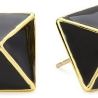 "kate spade new york ""Locked In"" Black Stud Earrings"