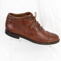 Domani Johnston Murphy 10.5 W Italy Ankle Boot Brown Leather Cap Toe EU 43.5