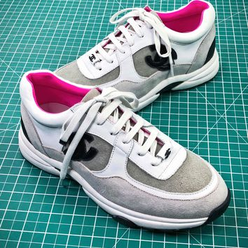 Chanel White Grey Pink Casual Shoes