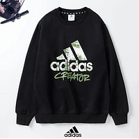 Adidas New fashion letter print hooded long sleeve sweater top Black