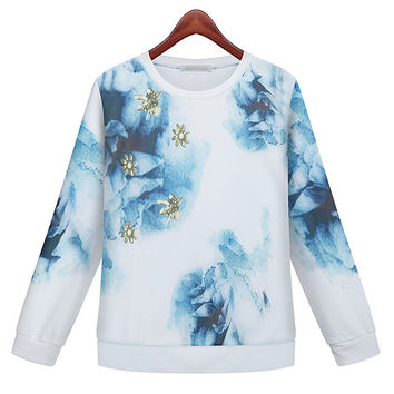 Floral Ink Painting Print Long Sleeve Sweater