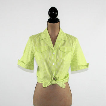 Short Sleeve Button Up Shirt Women Retro Tie Waist Polka Dot Lime Green Top Cotton Blouse Small Size 6 Vintage Clothing Womens Clothing