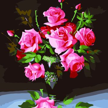 DIY Oil Painting Rose By Numbers  Frameless Picture Painting Wall Digital Canvas Oil Painting Home Decor For Living Room