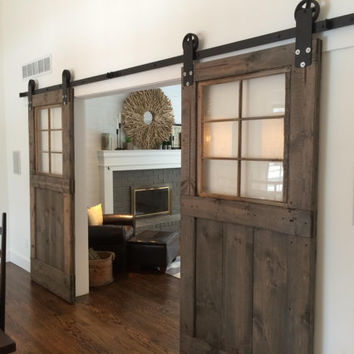 Vintage custom sliding barn doors with windows