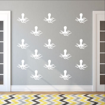 Octopus Style C Set of 6 Inch Vinyl Wall Decals 22568