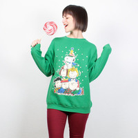 Vintage Ugly Christmas Sweater Tacky Christmas Sweater Peanuts Charlie Brown Snoopy Novelty Sweatshirt Xmas Jumper Pullover M Medium L Large