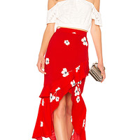 Bardot Frieda Ruffle Skirt in Red | REVOLVE