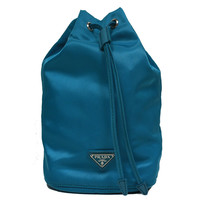 Prada Tessuto Teal Blue Nylon Cosmetic Make-Up Drawstring Travel Bag 1N0369