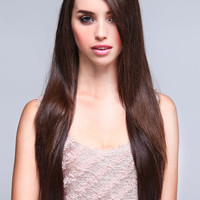 LONG STRAIGHT LAYERS SYNTHETIC HALF WIG