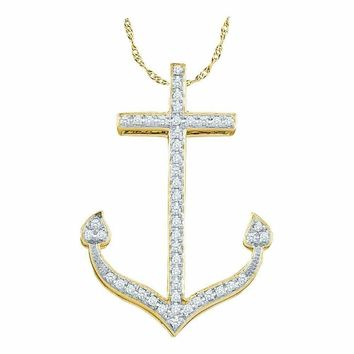 10k Gold Round Diamond Women's Anchor Pendant - FREE Shipping (US/CA)