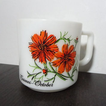 Vintage Milk Glass Flower Of The Month Coffee Mug - October - Cosmos Flower