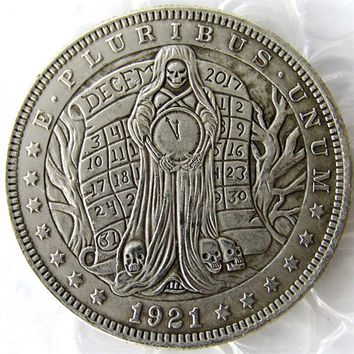 US 1921 Morgan Dollar With A Woman And Clock skull zombie skeleton Hand Carved Copy Coins High Quality