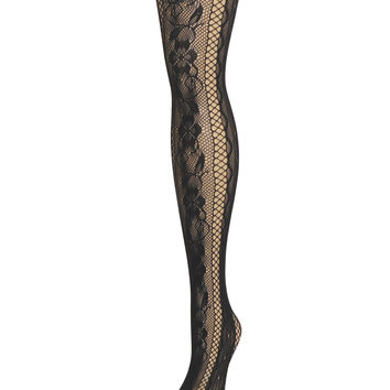 Linear Floral Net Tights
