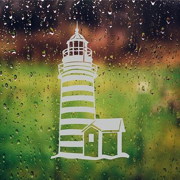 Lighthouse Etched Glass Vinyl Shower Door Decal Window Stickers
