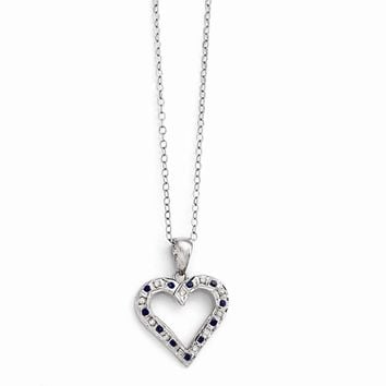 Sterling Silver & Platinum-plated Diamond & Sapphire 18in Heart Necklace
