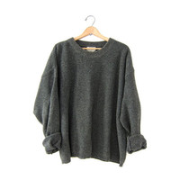vintage army green sweater. speckled sweater. boxy boyfriend sweater. textured knit sweater. slouchy pullover.