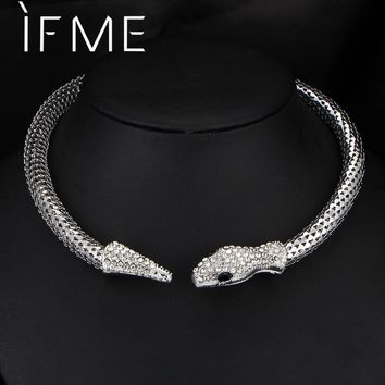 IF ME Trendy Personality Rhinestone Crystal Snake Choker Necklace For Women Silver Gold Color Statement jewelry NEW Design