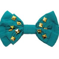 Teal/Turquoise Other - Teal and Studs- Men's Bowtie | UsTrendy
