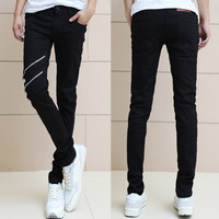 Two Zips Designer Men Slim Fit Black Jeans