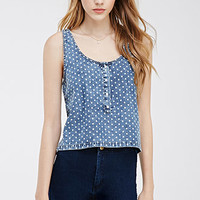 Polka Dot Denim Top