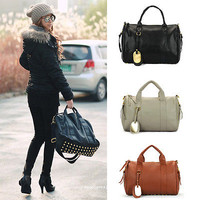 Fashion Women's Vintage Faux Leather Tote Shoulder Bags Ladies Hobo Handbags J