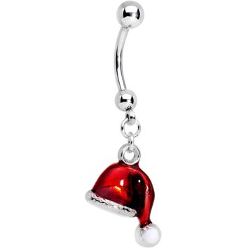 Red Santa Cap Christmas Dangle Belly Ring
