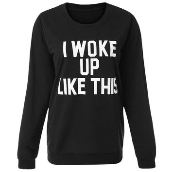 Stylish Round Neck Letter Print Long Sleeve Sweatshirt For Women