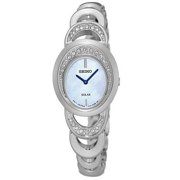 Seiko Womens Solar Modern Jewelry Crystal Watch - Mother of Pearl Dial