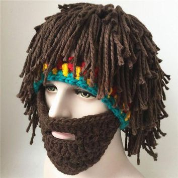 DCCKH6B The caveman hat wig beard tramp mad scientist hand knitted hat winter warm male and female fun Halloween mask party hats