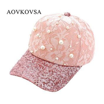 AOVKOVSA 2017 New Fashion Big Pearl Inlay Women Baseball Cap Sequins Lace Snapback Girl Hat