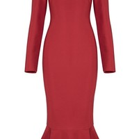 Honey Couture ADREA Red Long Sleeve Off Shoulder Midi Bandage Dress