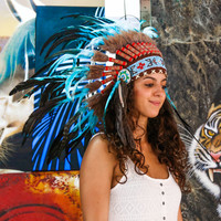 Real Feather Light Blue Chief Indian Headdress 75cm, Native American Costume Hand Made War Bonnet Hat