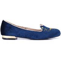 "ROMWE | ""Cat Face"" Blue Flat Shoes, The Latest Street Fashion"