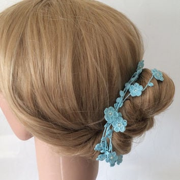 Bridal Hair Accessory / Necklace Crochet Blue Flowers Oya Beaded Jewellery, Beadwork, Crochet ReddApple, Gift Ideas for Her