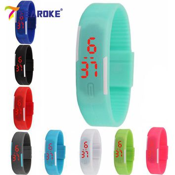 Women Men LED Bracelet Silicone Date Digital Outdoor Sport Clock Watch Wristwatch Birthday Gift