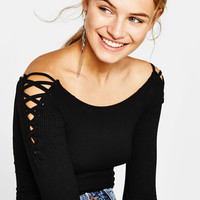 Bodysuit with lace-up sleeve detail - New - Bershka United Kingdom