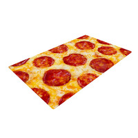 "KESS Original ""Pizza My Heart"" Pepperoni Cheese Woven Area Rug"