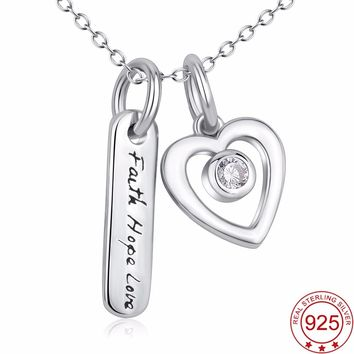 Faith Hope Love Sterling Silver Crystal Heart Pendant Necklace