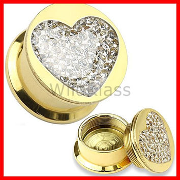 Multi-Gem Heart Gold Plated Screw Fit Plug 316L Surgical Steel