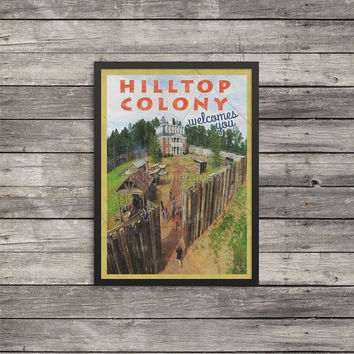 Walking Dead Poster | Hilltop Colony poster | Vintage look print | Vintage travel |Fantasy travel poster