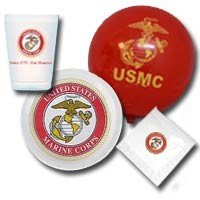 USMC Party Pack with Dessert Plates Napkins Balloons and Cups