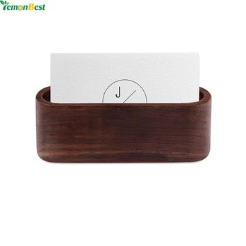 1Pcs Wood  Business Card Holder Single Compartment Name Card Display Stand Shelf For Desk Desktop Countertop Decoration